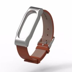 Promo Mijobs Replaceable Leather Wrist Strap For Xiaomi Mi Band 2 Smart Bracelet Brown