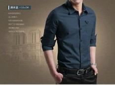 Promo Miller Kemeja Pria Polos Panjang Slim Fit Navy Blue Akhir Tahun