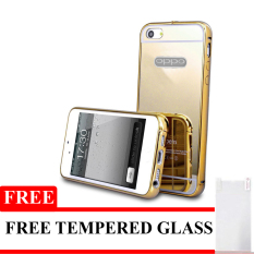Mirror Aluminium Bumper untuk Oppo Neo 7 + Gratis Tempered Glass - Gold