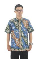 Model Baju Batik Pria Cap Asli Jambi Berkualistas - Zallatra - Biru + Gratis Canting