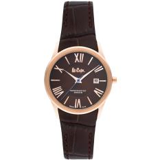 Moment watch - lee cooper LC-50L-C - jam tangan wanita - leather strap - coklat