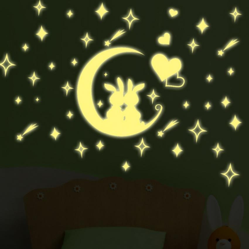 Moon Stars Rabbit Night Lighting Wall Decal PVC Rumah Sticker Rumah Vinyl Dekorasi Kertas WallPaper Ruang Tamu Kamar Tidur Dapur Art Gambar DIY Murals Girls Boys Kids Nursery Baby Playroom Decor