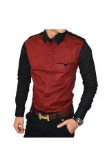 Beli Moshi Kemeja Pria Two Combination Shirt Hitam Marun Di Indonesia
