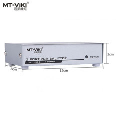 MT-VIKI MT-1502 1x2 2 Port VGA XGA SVGA Splitter Box Frekuensi Divider PC Laptop Ke TV LCD Monitor Display 1920*1440 150 MHz (EU/US Plug)