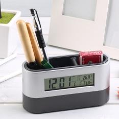 Multifungsi Pulang Kantor Jam Digital Alarm Snooze Dudukan Pena Kalender Tampilan Suhu Hitam Kualitas Bagus