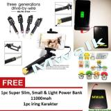 Review Terbaik Mwalk Tongsis Monopod Selfie Stick Paket Combo Travel Gold Iring Karakter Slim Power Bank 11000Mah