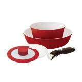 Jual Neoflam Midas Plus Fry Pan 20Cm Sauce Pot 18Cm Glass Lid 18Cm Plastic Lid 18Cm Handle Merah Neoflam Branded