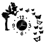 Promo New Angel Butterfly Modern Design Mirror Clock Wall Home Watch Wall Sticker Black Tiongkok