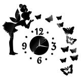 Jual New Angel Butterfly Modern Design Mirror Clock Wall Home Watch Wall Sticker Black Murah Tiongkok