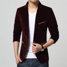 Spesifikasi Baru Kedatangan Pria Kasual Blazers Tombol Stylish Slim Corduroy Blazer Pria Fashion Suit Jacket Merah Murah Berkualitas