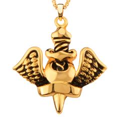 Baru Trendy Pesona Unik Big Angel Desain 18 K GOLD/Platinum Disepuh Pendant Kalung untuk Pria Pesta Hadiah P30169 -Intl