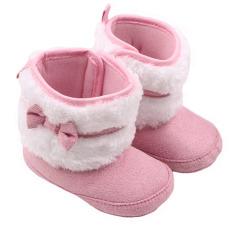 Baru Lahir Bayi Katun Sepatu Tinggi Sepatu Bot Salju Musim Dingin untuk Membantu Coral Velvet Belajar Berjalan Sepatu 0-12 Bulan WMC0932 (Pink)
