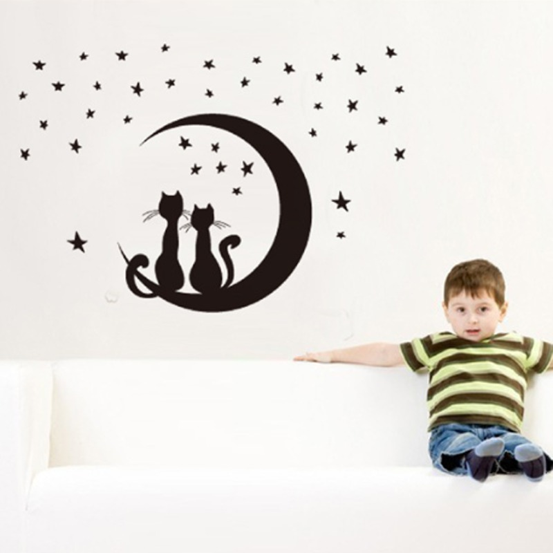 Night Moon Stars Cats Wall Decal PVC Rumah Sticker Rumah Vinyl Dekorasi Kertas WallPaper Ruang Tamu Kamar Tidur Dapur Art Picture DIY Murals Girls Boys Kids Nursery Baby Playroom Decor-Intl