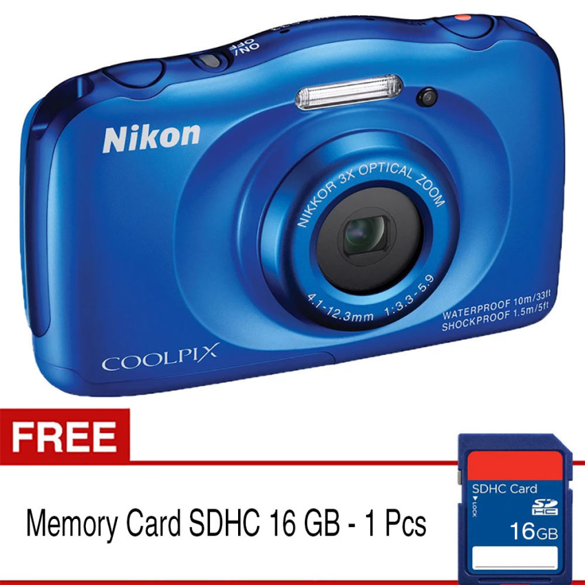 Harga Nikon Coolpix S33 Digital Camera 13 2Mp 3X Optical Zoom Biru Gratis Sdhc 16 Gb Nikon Asli