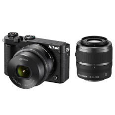 Nikon Mirrorless 1 J5 Kit 10-30mm F/3.5-5.6 PD + 30-110mm F/3.8-5.6 - Hitam + Tas + Filter Lensa + Memory Micro Sandisk 8GB + LCD Screen Guard