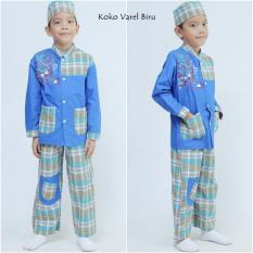 Nuranitex Busana Muslim Baju Koko Varel Setelan Anak - Biru