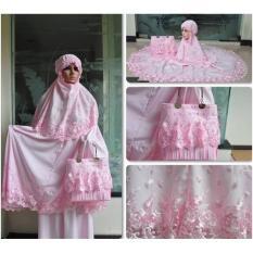 Jual Nuranitex Busana Muslim Mukena Behel Brukat Susun Zahra Antik Pink Jawa Barat Murah