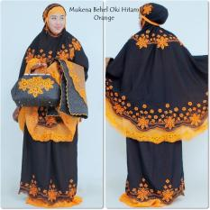 Nuranitex Busana Muslim Mukena Behel Oki Bunglon Super Mewah Hitam Orange Di Jawa Barat