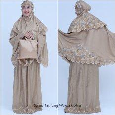 Nuranitex Busana Muslim Mukena Bordir Susun Bunga Tanjung - Coklat