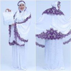Nuranitex Busana Muslim Mukena Bordir Susun Bunga Tanjung - Putih Ungu