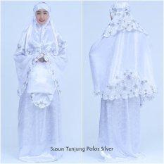 Nuranitex Busana Muslim Mukena Bordir Susun Bunga Tanjung - Silver