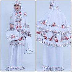 Nuranitex Busana Muslim Mukena Double Susun Bordir Syahrini - Putih Merah