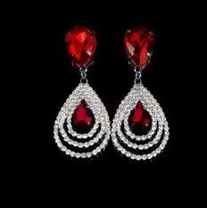Harga Okdeals Sparkling Crystal Teardrop Menjuntai Drop Kancing Rhinestone Hoop Earring Red Yang Murah Dan Bagus