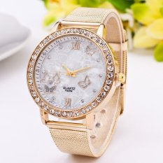 Harga Okdeals Wanita Crystal Stainless Steel Analog Quartz Wrist Watch Butterfly