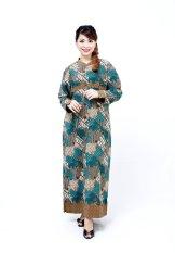 Oktovina-HouseOfBatik Gamis Batik Semi Sutra - Longdress Batik GBSS-3 - Tosca
