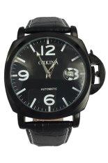 Tips Beli Orkina Men S Black Leather Strap Watch Ork 0256 Yang Bagus