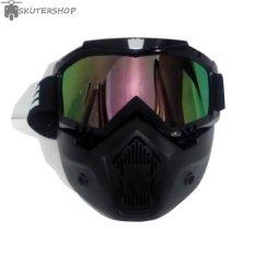 Promo Osbe Goggle Mask Retro Klasik Jap Style Motocross Shark Raw Visor Rainbow Hitam Murah