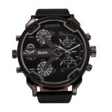 Spesifikasi Oulm Fashion Terlalu Besar Dual Tampilan Tombol Waktu Chronograph Pu Leather Band Pria Watch Hitam Dan Harganya