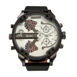 Harga Oulm Fashion Terlalu Besar Dual Tampilan Tombol Waktu Chronograph Pu Leather Band Pria Watch Putih Murah