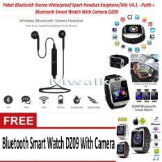 Beli Paket Bluetooth Stereo Waterproof Sport Headset Earphone Mic V4 1 Hitam Bluetooth Smart Watch Dz09 With Camera Cicil