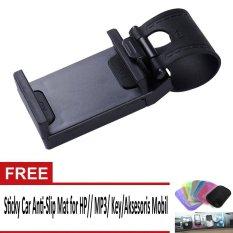 Phone Holder Mobil, Motor Dan Sepeda Untuk HP/GPS – Hitam + Sticky Car Anti-Slip Mat for HP/ MP3/ Key/Aksesoris Mobil