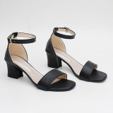 Own Works Open Toe Ankle Strap Block Mid Heel Sandals Ma01 Hitam Promo Beli 1 Gratis 1