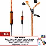 Harga Pokeshop Stereo Mega Bass Headset Earphone Zipper Metalic Gratis 4 Pelindung Kabel Bumpercase Universal Usb Cable Micro Fabric Penjepit Kabel Kartun Orange Online
