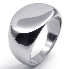 Dipoles Stainless Steel Band Oval Signet Cincin Pria Warna Silver-Intl