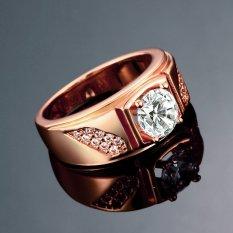 Populer Pria Ring Jewelry Wide Band Cincin Zircon Gaya Berlian Pernikahan Cincin Rose Emas