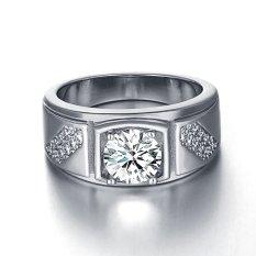 Populer Pria Ring Jewelry Wide Band Cincin Zirkon Berlian Cincin Kawin Bergaya Putih