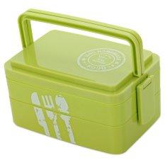 Harga Portable Tiga Lapisan Rectangle Lunch Box Eco Friendly Bento Wadah Hijau Oem Asli