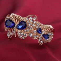 Harga Yazilind Chic Wanita Muda Berlapis Emas Biru Rhinestone Butterfly Style Gelang Datang Asli Yazilind