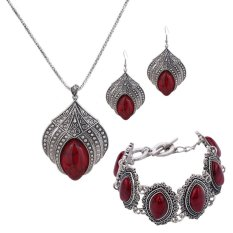 Toko Yazilind Wanita Bohemia Retro Turquoise Gelang Anting Kalung Perhiasan Warna Perak Merah Yazilind Online