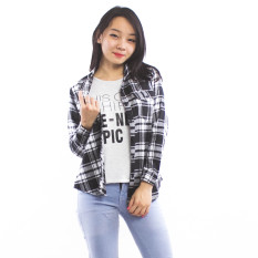 Harga Maxima Flannel Cool Collar Shirt White Satu Set