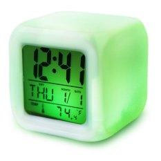Promosi! Cute 7 Warna Lampu Latar Modern Digital Alarm Jam Meja Gadget Digital Alarm Thermometer Malam Glowing Cube LCD Clock-Intl