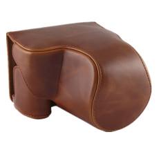 PU Leather Camera Case Bag untuk Canon PowerShot SX520 HS Brown