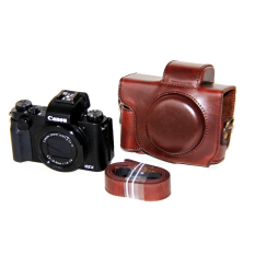 Pu Sarung Kamera Kulit untuk Canon PowerShot G5 X (Kopi)