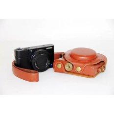 Pu Sarung Kamera Kulit untuk Sony DCS-RX100II M2 RX100 III M3 (Coklat)