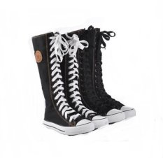 Beli Punk Rock Canvas Boot Kanvas Datar Lace Up Knee High Not Specified Online