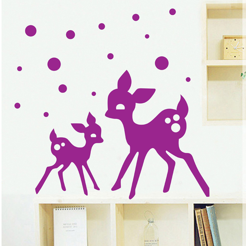 Ungu Deers Wall Decal PVC Rumah Sticker Rumah Vinyl Dekorasi Kertas WallPaper Ruang Tamu Kamar Tidur Dapur Art Picture DIY Murals Girls Boys Kids Nursery Baby Playroom Decor-Intl